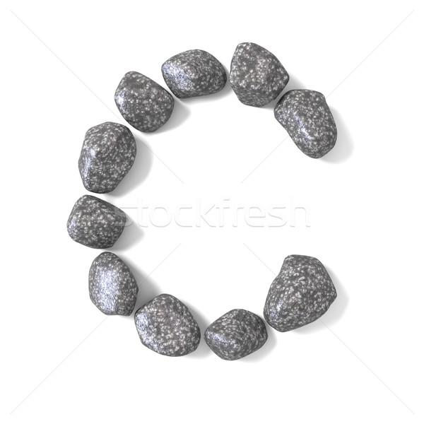 Doopvont rotsen letter c geven illustratie geïsoleerd Stockfoto © djmilic