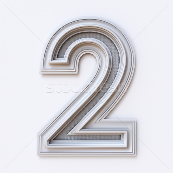 White picture frame font Number 2 TWO 3D Stock photo © djmilic