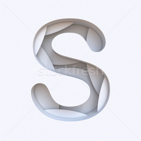 White abstract layers font Letter S 3D Stock photo © djmilic