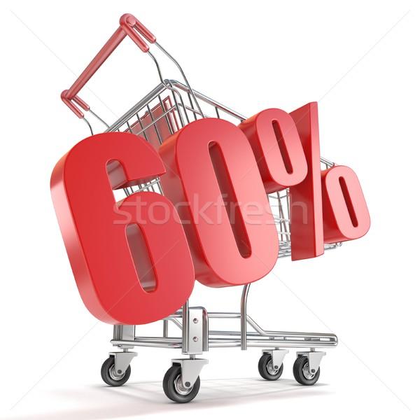 60 zestig procent korting winkelwagen verkoop Stockfoto © djmilic