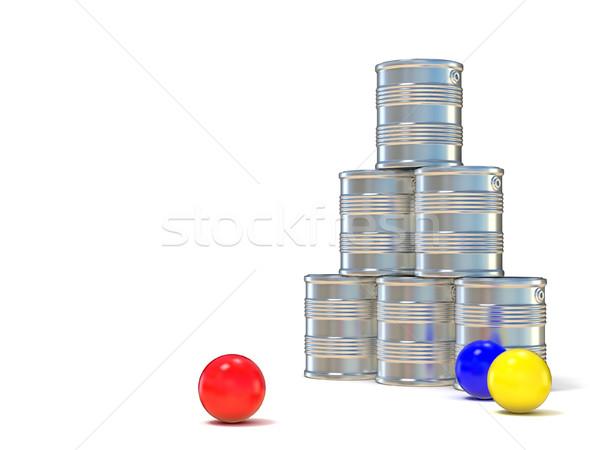 Tin cans and three balls. 3D Stock photo © djmilic