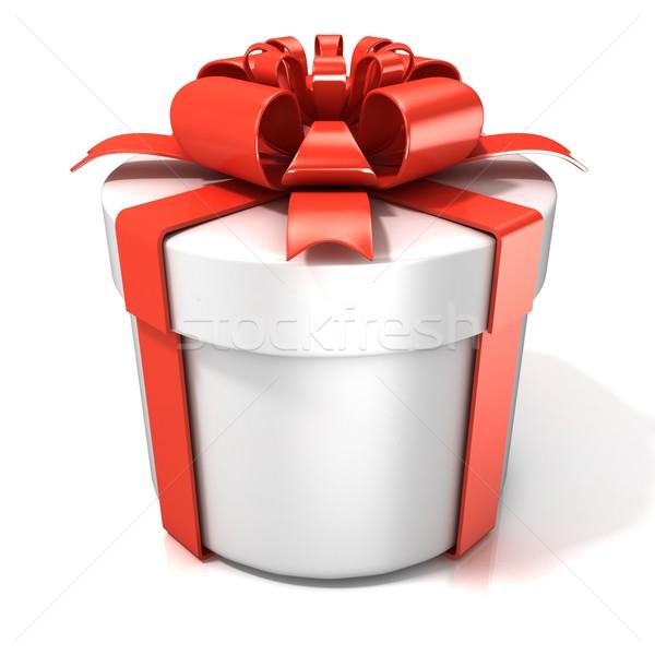 Branco cilindro caixa de presente isolado páscoa casamento Foto stock © djmilic