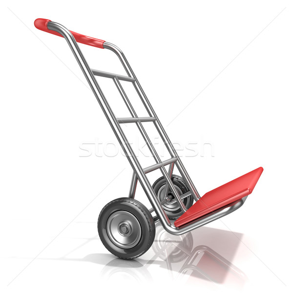 Stock photo: An empty hand truck, isolated on white background. 3D