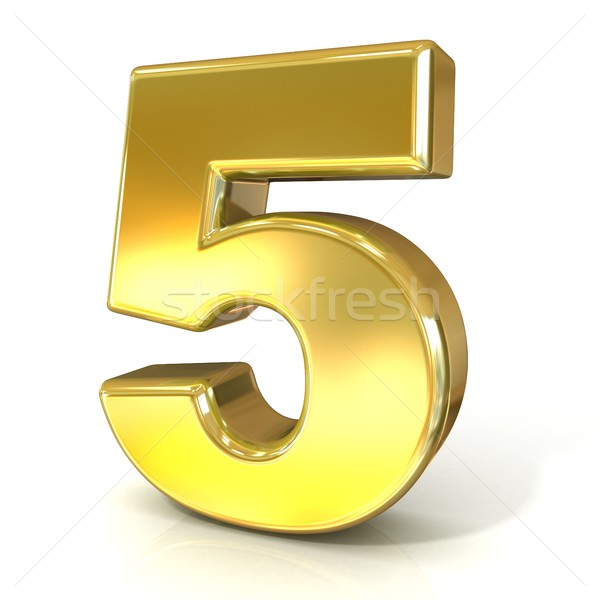 Numerical digits collection, 5 - FIVE. 3D golden sign Stock photo © djmilic