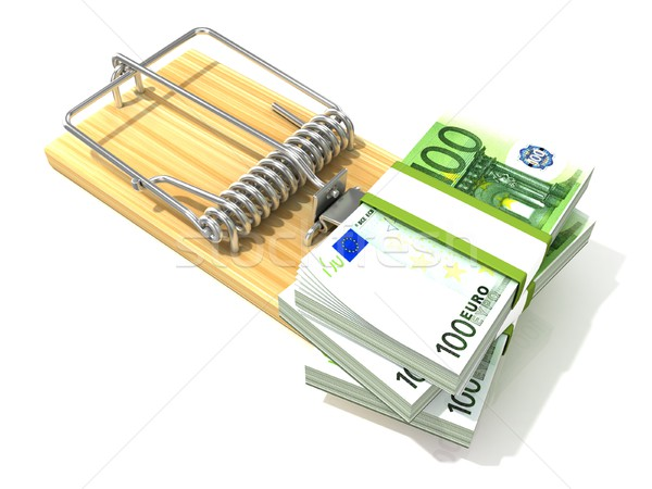 Stack of hundreds euros, like bait, in wooden mousetrap. 3D Stock photo © djmilic
