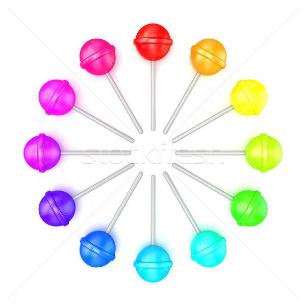 Kleurrijk cirkel top 3D 3d render Stockfoto © djmilic