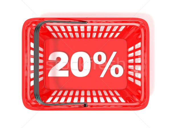 20 percent discount tag in red shopping basket. 3D Stock photo © djmilic