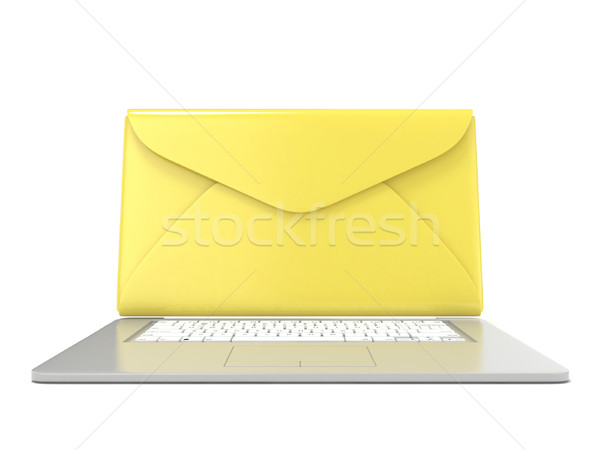 Closed envelope on laptop. Front view. 3D Stock photo © djmilic