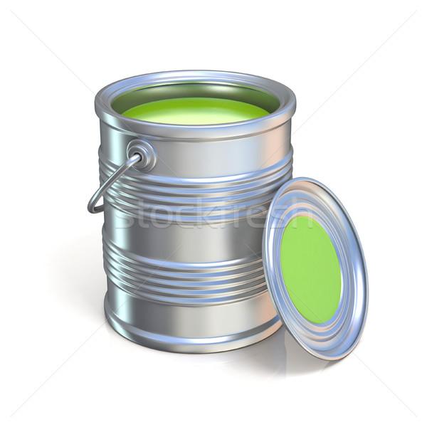 металл олово можете зеленый краской изолированный Сток-фото © djmilic