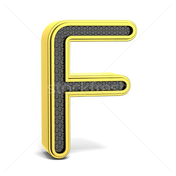 Or noir alphabet lettre f 3D rendu 3d Photo stock © djmilic
