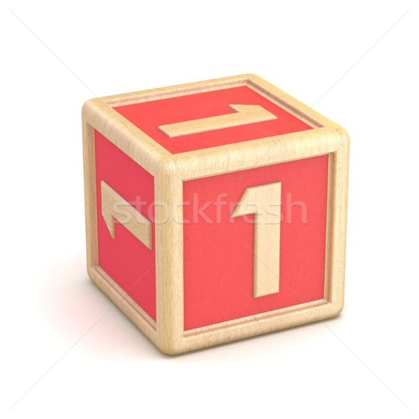 Number 1 ONE wooden alphabet blocks font rotated. 3D Stock photo © djmilic