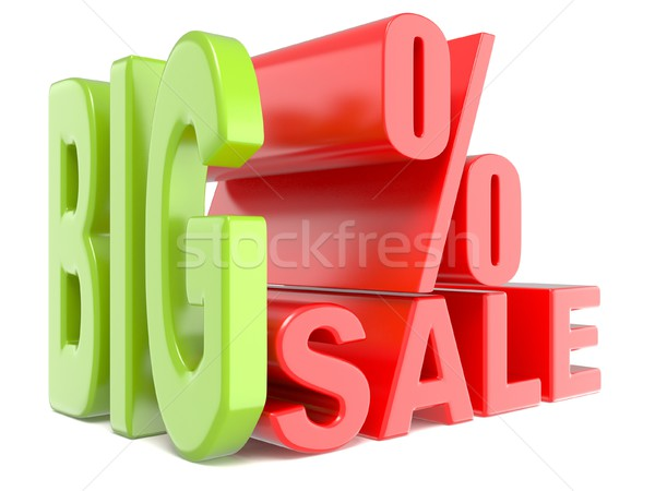 Big sale and percent sign % 3D words sign. Stock photo © djmilic