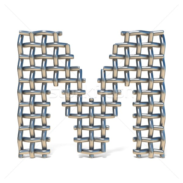 Metal wire mesh font LETTER M 3D Stock photo © djmilic