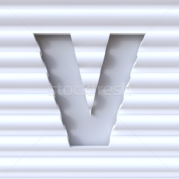 Cut out font in wave surface LETTER V 3D Stock photo © djmilic