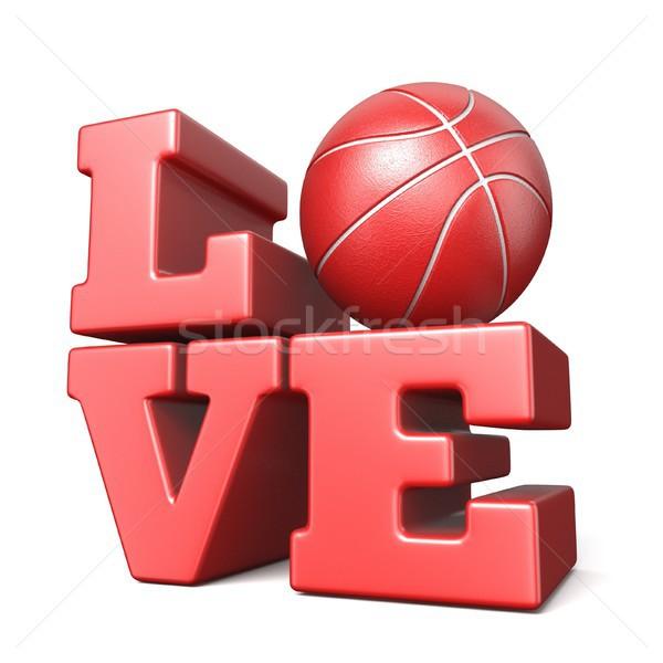 Stock fotó: Szó · szeretet · kosárlabda · labda · 3D · 3d · render