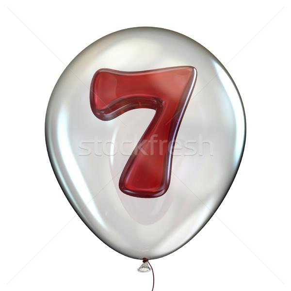 Numero sette trasparente pallone 3D rendering 3d Foto d'archivio © djmilic