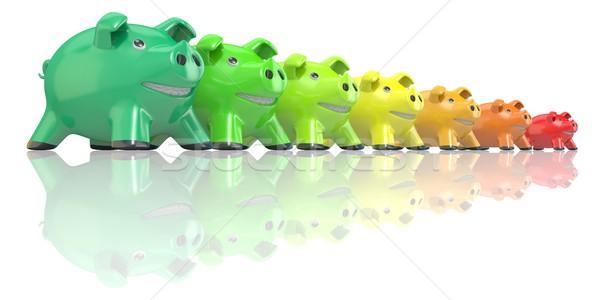Saving energy consumption concept made of piggy banks. 3D Stock photo © djmilic