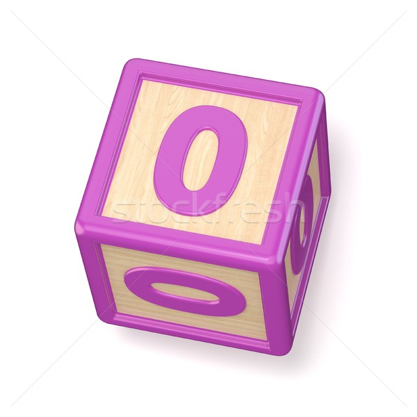 Number 0 ZERO wooden alphabet blocks font rotated. 3D Stock photo © djmilic