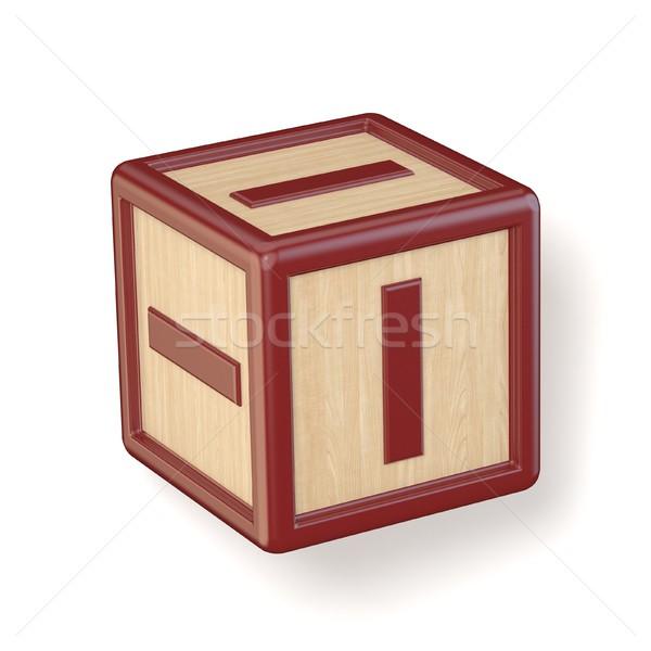 Letter I wooden alphabet blocks font rotated. 3D Stock photo © djmilic