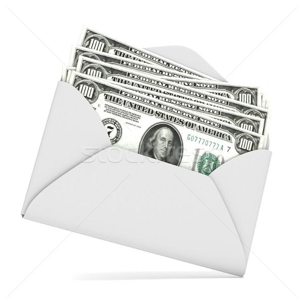 Stok fotoğraf: Dolar · zarf · 3D · 3d · render · örnek · yalıtılmış