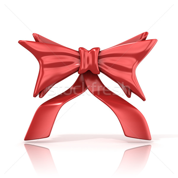 Red ribbon bow with tails, 3D Stock photo © djmilic