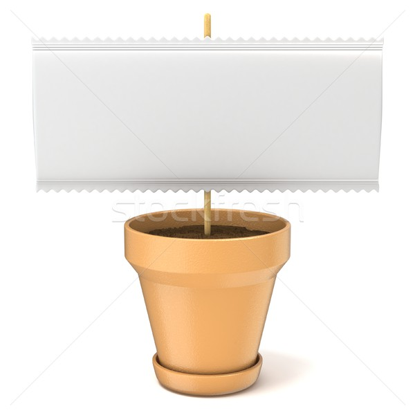 Klei plant pot blanco papier teken houten Stockfoto © djmilic