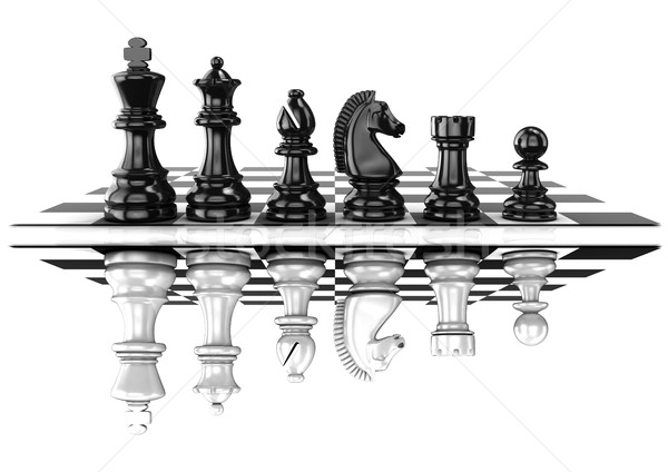 Chess black and white pieces, standing on board, mirrored Stock photo © djmilic