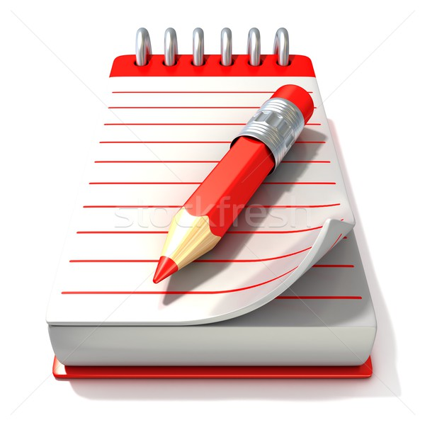 Red notepad and red pen, 3D Stock photo © djmilic