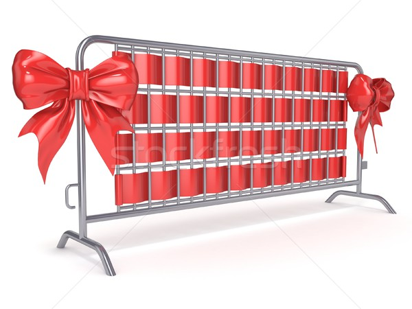 Steel barricades with red ribbon bows. Side view. 3D Stock photo © djmilic