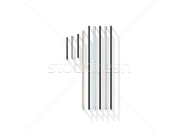 Ezüst acél drót betűtípus legelső függőleges Stock fotó © djmilic
