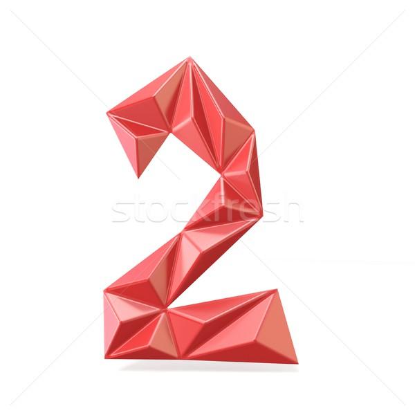 Vermelho moderno fonte dígito dois 3D Foto stock © djmilic
