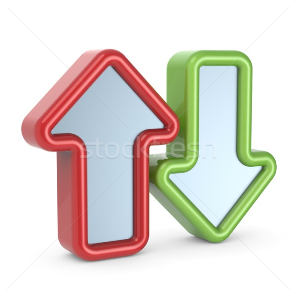 Red and green arrows icon 3D Stock photo © djmilic