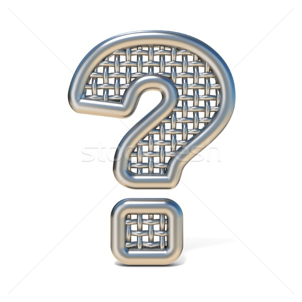 Outlined metal wire mesh font QUESTION MARK 3D Stock photo © djmilic