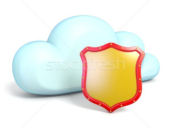 Chmura icon tarcza 3D odizolowany biały Zdjęcia stock © djmilic