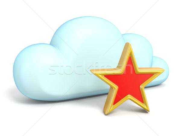 Chmura icon star 3D odizolowany biały Zdjęcia stock © djmilic