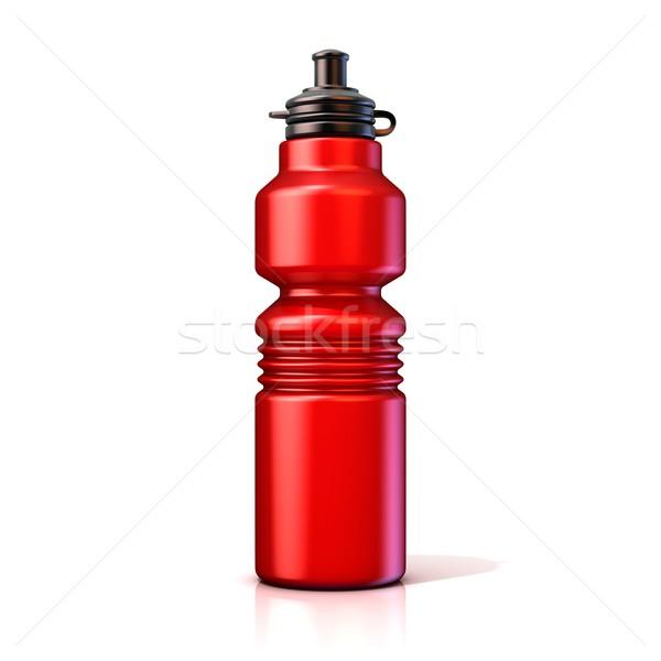 ストックフォト: 赤 · プラスチック · スポーツ · ボトル · ボトル · 3D
