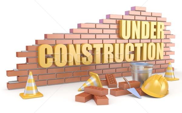 építkezés felirat 3D 3d render illusztráció izolált Stock fotó © djmilic