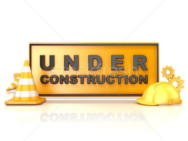 építkezés felirat 3D 3d render illusztráció biztonság Stock fotó © djmilic
