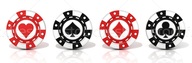 Set of standing gambling poker chips, with spade, heart diamond  Stock photo © djmilic