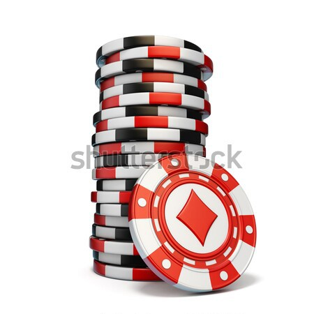 Set of gambling casino chips, like bait, in wooden mousetrap. 3D Stock photo © djmilic