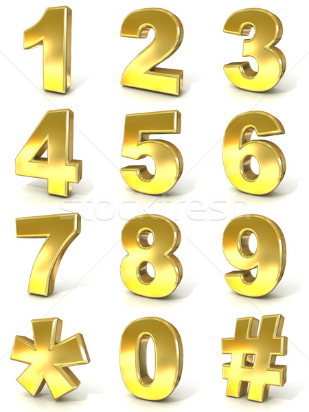 Numerical digits collection, 0 - 9, plus hash tag and asterisk.  Stock photo © djmilic