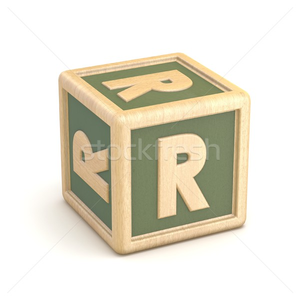 Letter R wooden alphabet blocks font rotated. 3D Stock photo © djmilic