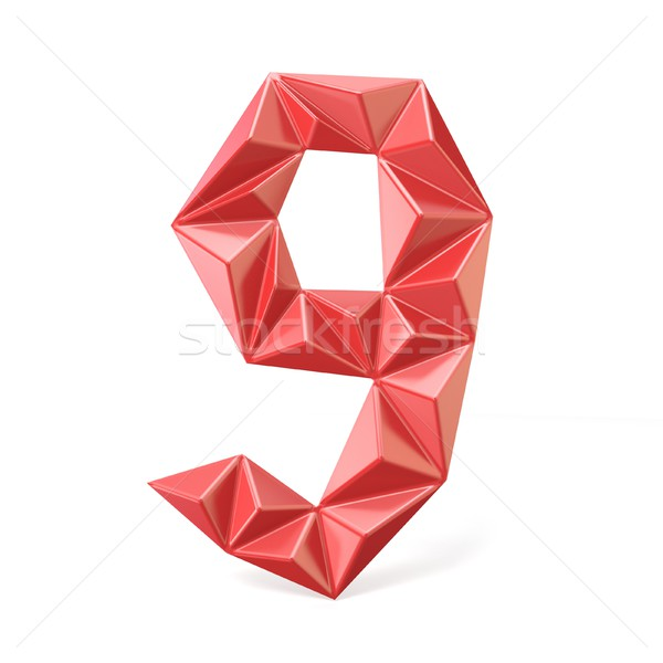 Red modern triangular font digit NINE 9 3D Stock photo © djmilic
