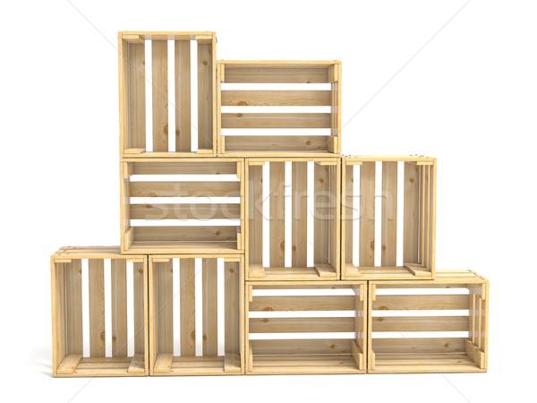 üres fából készült 3D 3d render illusztráció izolált Stock fotó © djmilic