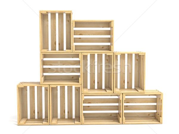 Empty wooden crates arranged 3D Stock photo © djmilic