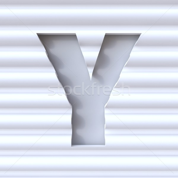 Cut out font in wave surface LETTER Y 3D Stock photo © djmilic