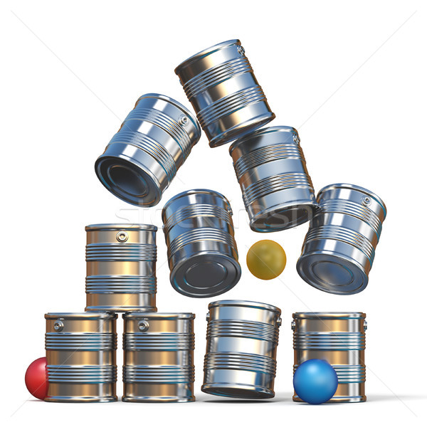 Falling tin cans and three balls 3D Stock photo © djmilic