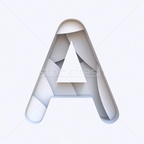 Fehér absztrakt rétegek betűtípus levél 3D Stock fotó © djmilic