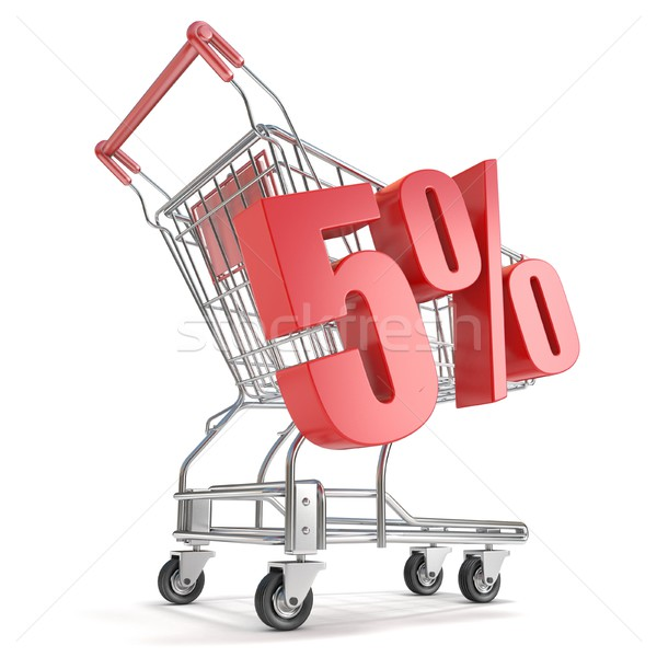 5% - five percent discount in front of shopping cart. Sale conce Stock photo © djmilic