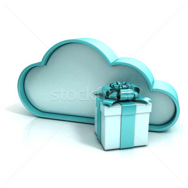 Cloud with gift box. Free additional storage. 3D Stock photo © djmilic